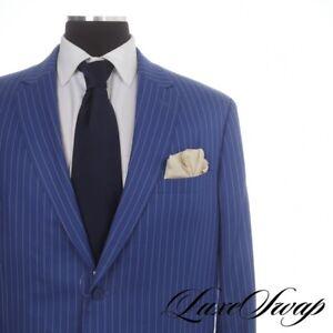 BIG GUYS Elevee Bespoke Custom Made INTENSE Peacock Blue Gangster Pinstripe Suit