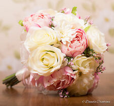 Silk Rose & Peony Bridal Bouquet in Pink & Ivory - Wedding Flowers Hand Made