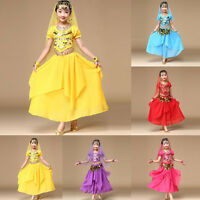 Child Kid Girl Belly Dance Outfit Costume Sequins Tops+Skirt India Dance Clothes