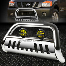 CHROME BULL BAR GRILLE GUARD+YELLOW FOG LIGHT FOR 05+ NISSAN FRONTIER/PATHFINDER