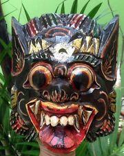 Art Mask Barong Dance Wood Hand Carved Paint Bali Hindu Garuda Demon Decor Wall