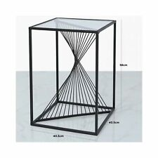 Designer Concepts Contemporary Black Metal & Glass Side Occasional Table LAST 1