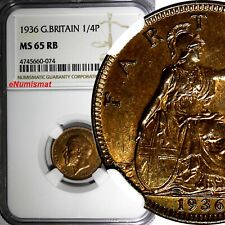 Great Britain George V (1910-1936) 1936 Farthing NGC MS65 RB NICE RED KM# 825