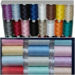 BOX OF 24x1000 YARDS POLYESTER SEWING THREAD MIXED COLOURS