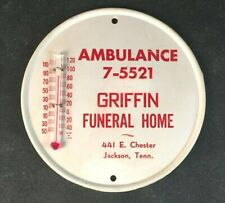 Vintage GRIFFIN AMBULANCE & FUNERAL HOME THERMOMETER Rare Old Advertising Sign