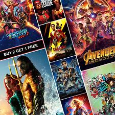 Marvel DC MCU Movie Posters A4 A3 Gloss Prints Art Aquaman Infinity War Shazam