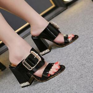 Women's Sexy Open Toes Block Heels Pearl High Heel Sandals Slippers Partwear Dd