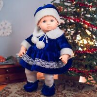 """15"""" Baby Doll Clothes BLUE VELVET OUTFIT & BOOTIES Fit American Girl Bitty Twin"""