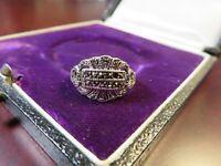 Eleganter 925 Silber Ring Jugendstil Art Deco Markasit Klein Edel Stein Fehlt