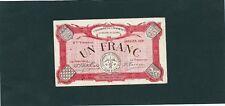 BILLET CHAMBRE DE COMMERCE DE L'EURE et LOIRE   1 FRANC JANVIER 1921