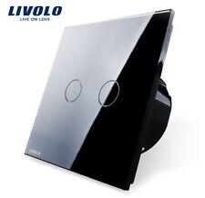 Touch Serienschalter Doppelschalter Schwarz Kristall Glas Livolo VL-C702-12