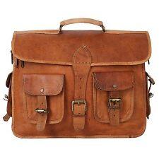 1 Vintage Brown Large Leather Laptop Briefcase Messenger Satchel Bag Shoulder