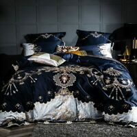 1000TC Egyptian Cotton Bedding Set Luxury Embroidery Bed Set Duvet Cover Fitted