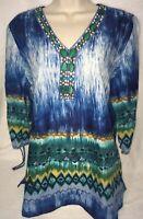 Dressbarn Top L BOHO tribal Peasant Tunic Blue Rhinestones Embellished Beads