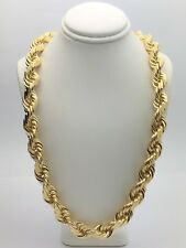 """Solid 14K Yellow Gold 28"""" Twisted Diamond Cut Rope Chain Necklace 12mm- 310.9 g."""