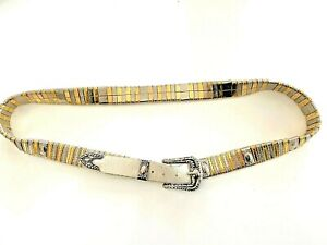 Jose Cotel Paris France Vtg Belt Silver Gold Links Leather Southwest Boho S/M