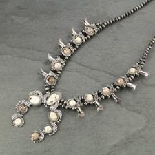 *NWT* Natural Squash Blossom White Stone Necklace 7320600089