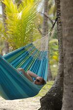 Bio Baumwolle Hängematte Flora Curaçao Blau in Jacquardwebart La Siesta