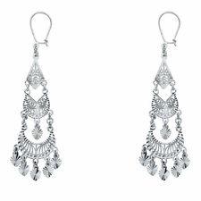 14k White Gold Fancy Chandelier Dangle Earrings (16 X 53mm)