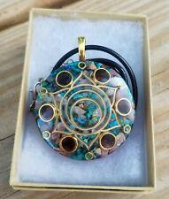 Opal, Rhodochrosite, Chrysocolla, & Garnet Sacral Chakra Orgone Pendant