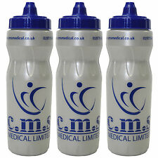 3 Pack of CMS Medical 750ml Sports Jet Flow Cap Easy Grip Drinks Water Bottles