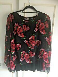 KLASS - Black chiffon floral kaftan overlay black t shirt/top Size Medium 12/14