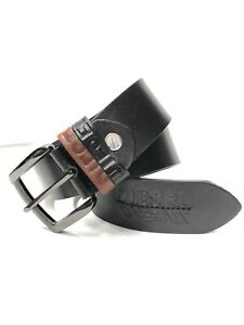 Men's Diesel Black Leather Belt Size 30 To 34 Waist Nw(uk01099)