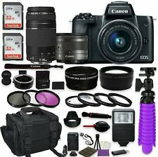 Canon EOS M50 Mirrorless Digital Camera (Black) + (2) Lenses + More