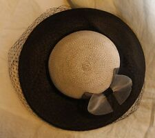 Vintage Womens Hat Black and Gray with Veil