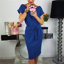 Womens Casual Pocket Summer Ladies Short Sleeve Evening Party Jersey Midi Dress