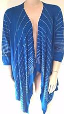 WOMENS PLUS SIZE L LOVELY BLUE STRIPED DRAPE OPEN CARDIGAN RRP $79.99