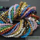 Natural Gemstones 4mm Faceted Round Beads 15'' - 16'' Jasper Quartz Agate Pick