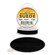 Black 3 Yds. Micro-Fiber Faux Leather Suede Lace 2.743m Beading Cord Spool