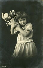 Circa 1916 Vinatage Cute LITTL GIRL w/ VASE Antique photo postcard