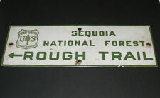 Sequoia National Forest Porcelain Sign US Forest Service California Trail Sign