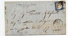 ANTICHI STATI 1860 SARDEGNA FRANCOBOLLO DA 20C. AZZURRO CASALE 27/9 D05734