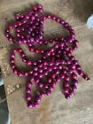 """Vintage Large 1/2""""  Pink Christmas Tree Garland Glass Beads 100""""      #D"""