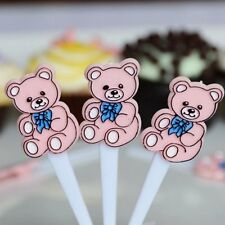 30 Pink Teddy Bear Cupcake Cake Picks Baby Birthday Party Decoration