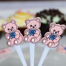 30 Pink Teddy Bear Cupcake Cake Picks Baby Birthday Party Decoration