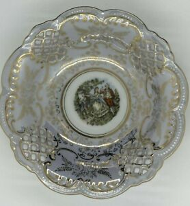 Porcelain Reticulated Dish,Courting Scene Deco & Gilt Trim, European Styling
