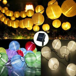 Außen Solarleuchte Lampions Lichterkette LED Solar bunt Garten Party Beleuchtung