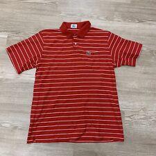 Vintage Izod Lacoste Red Striped Polo Men Size Large Vtg Single Stitch