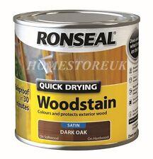 RONSEAL QUICK DRY WOODSTAIN SATIN RAINPROOF WOOD PRESERVER RESIST CRACKING 250ml