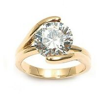 Bague T56 Joaillerie Diamant Cz 10mm Multifacette Plaqué Or 18K de Dolly-Bijoux