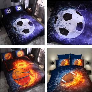 3D Duvet Cover Bedding Set Basketball Football Fire Soft Quilts Cover Pillowcase