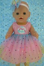 "Play n Wear Dolls Clothes For 17"" Baby Born PINK RAINBOW DRESS~HEADBAND"