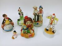 Lot of Vintage Send In The Clowns Porcelain Ceramic Turning Music Boxes