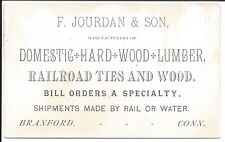 C1880 Business Card, Maker of Railroad Ties, Hard Wood Lumber, Branford CT