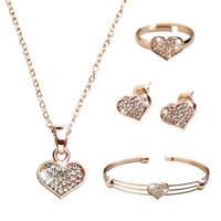 Women's Heart Rhinestone Necklace Bracelet Ring Earrings Pendant Jewelry Set new
