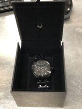 Bulova Men's Black Stainless Steel Watch - 98C121 - OG Box